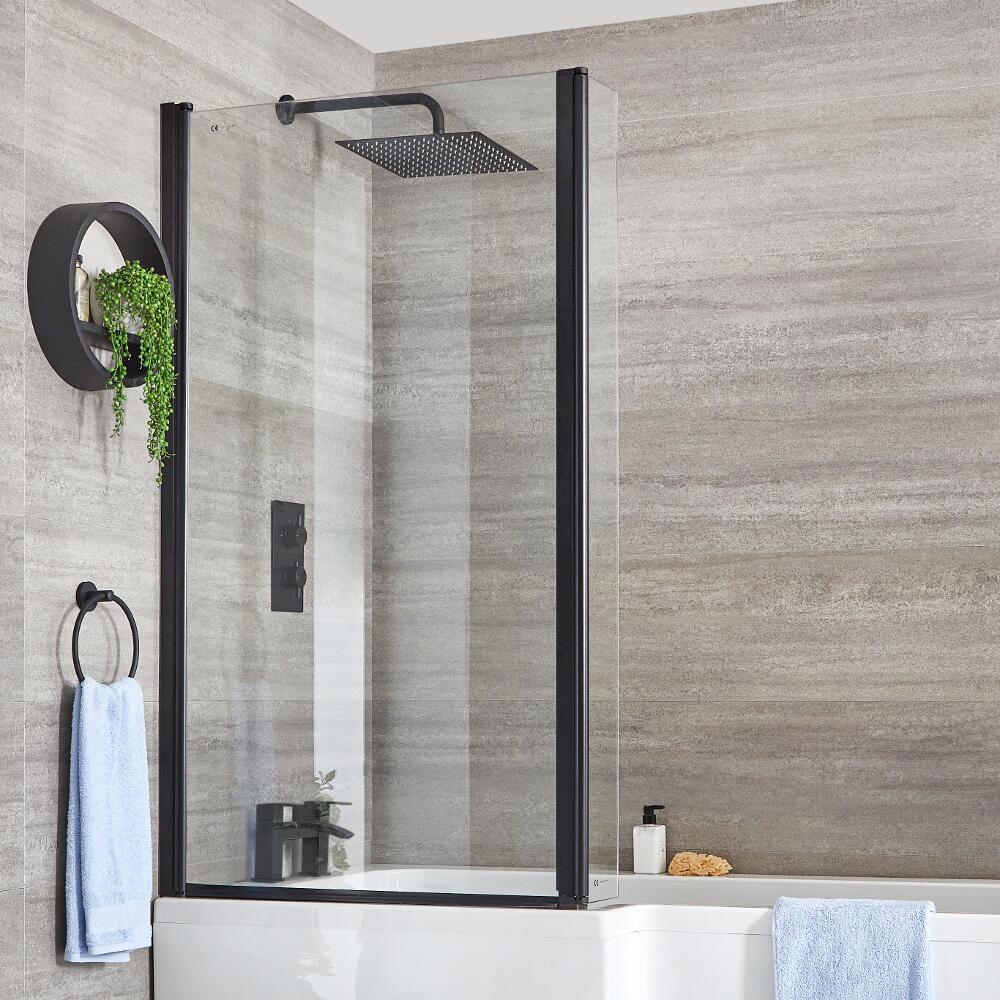 Milano Nero - Black L Shaped Shower Bath Screen