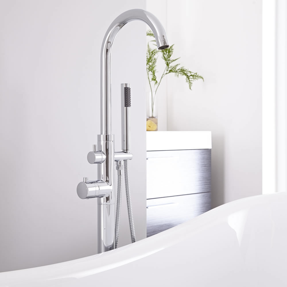 Milano Mirage - Modern Freestanding Thermostatic Bath Shower Mixer Tap with Hand Shower - Chrome