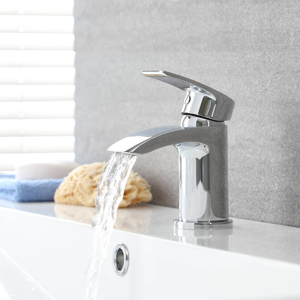 Milano Razor - Modern Deck Mounted Mono Basin Mixer Tap - Chrome