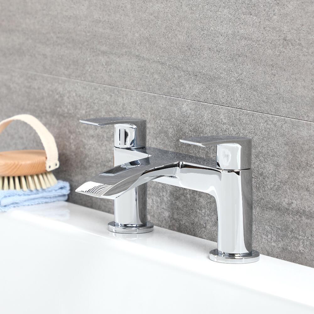 Milano Razor - Modern Deck Mounted Bath Filler Tap - Chrome