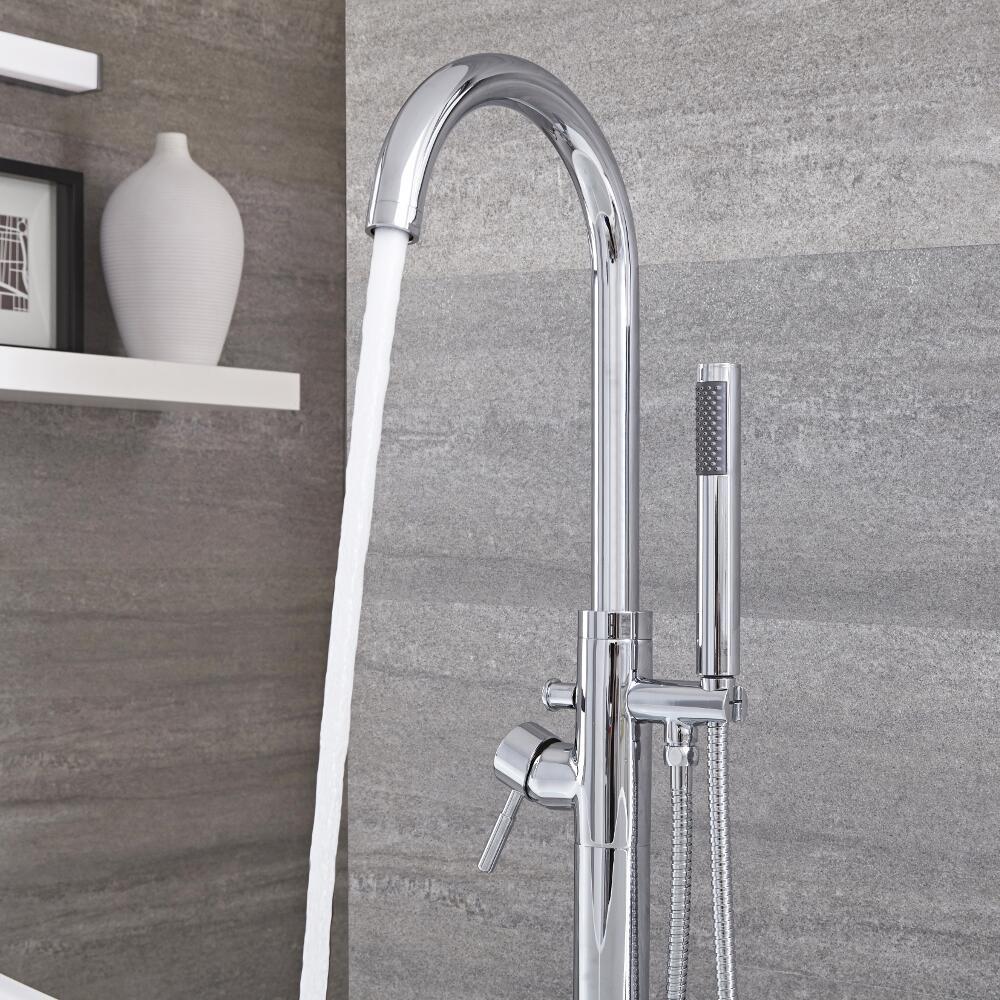 Milano Mirage - Modern Floor Standing Bath Shower Mixer Tap including Hand Shower - Chrome
