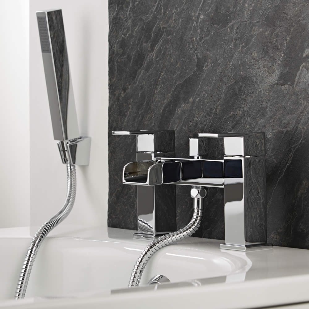 Milano Parade - Modern Deck Mounted Waterfall Bath Shower Mixer Tap with Hand Shower - Chrome