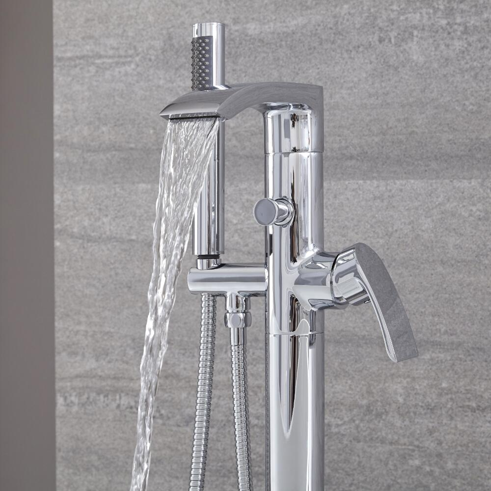 Milano Razor - Modern Freestanding Bath Shower Mixer Tap with Hand Shower - Chrome