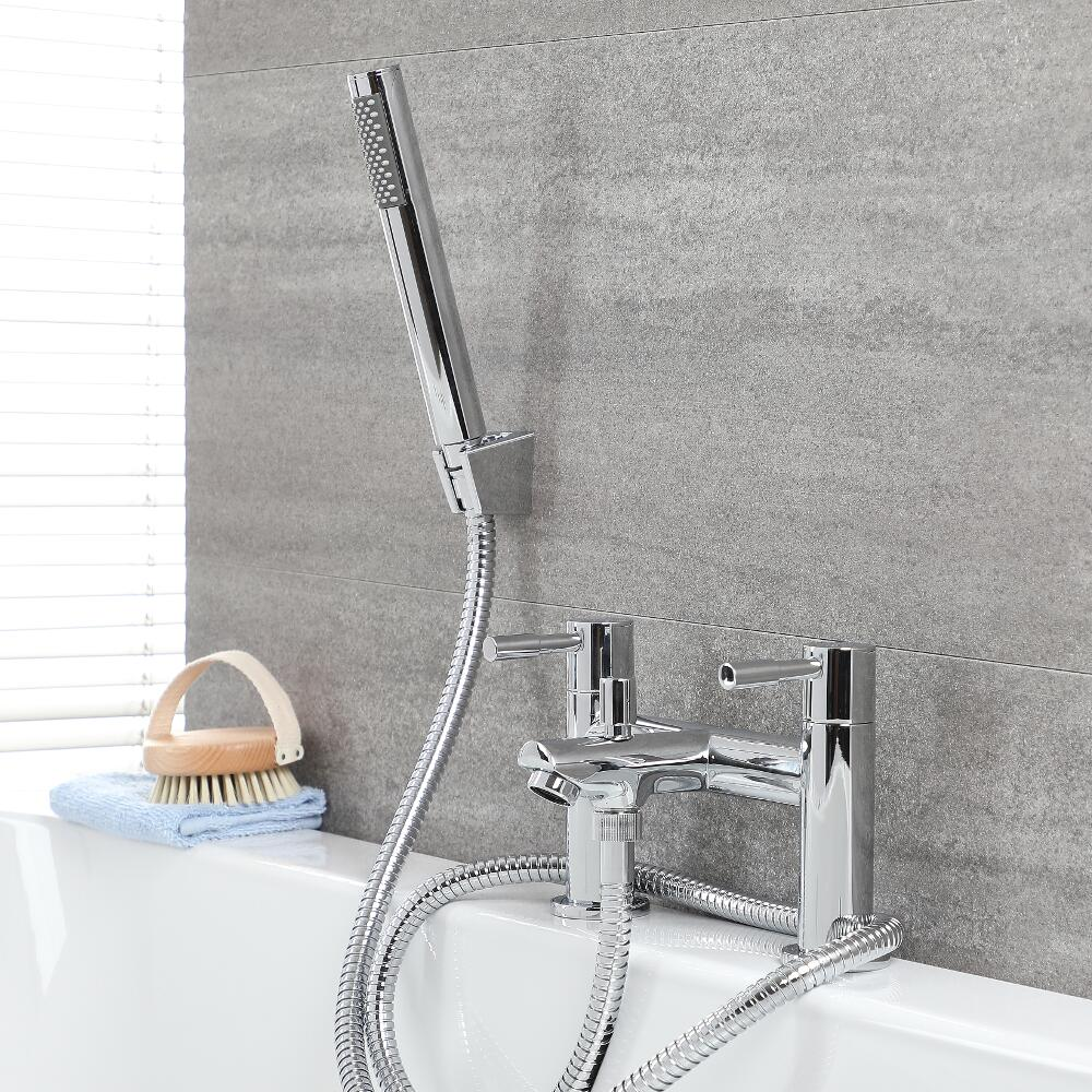 Milano Mirage - Modern Deck Mounted Bath Shower Mixer Tap with Hand Shower - Chrome