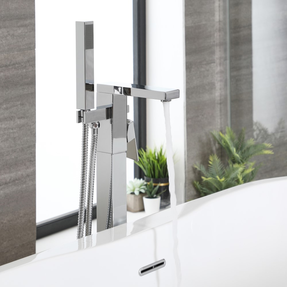 Milano Arvo - Modern Freestanding Bath Shower Mixer Tap with Hand Shower - Chrome