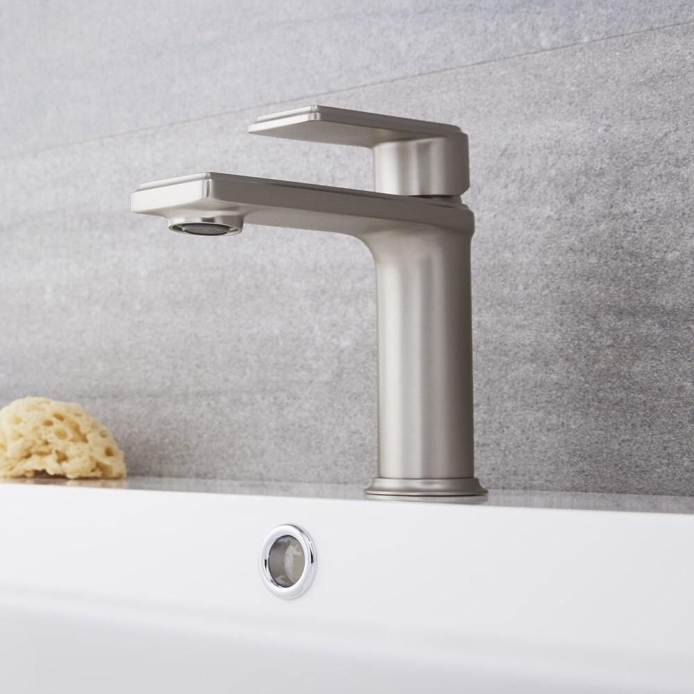 Milano Ashurst - Modern Mono Basin Mixer Tap - Brushed Nickel