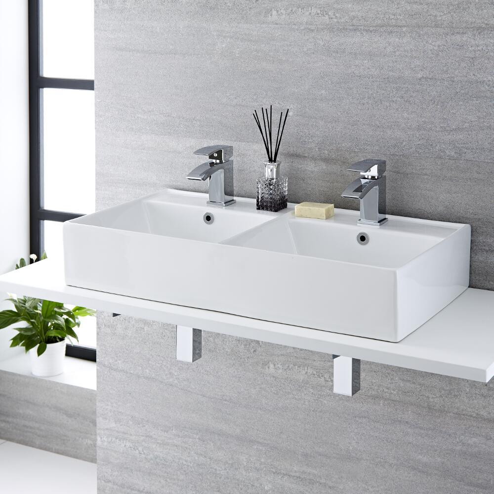 Milano Dalton - White Modern Rectangular Double Countertop Basin with 2 Deck Mounted Mixer Taps - 820mm x 420mm