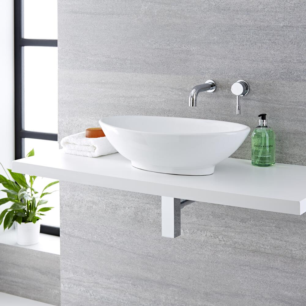 Milano Altham - White Modern Round Countertop Basin with Wall Hung Mixer Tap - 520mm x 320mm (No Tap-Holes)