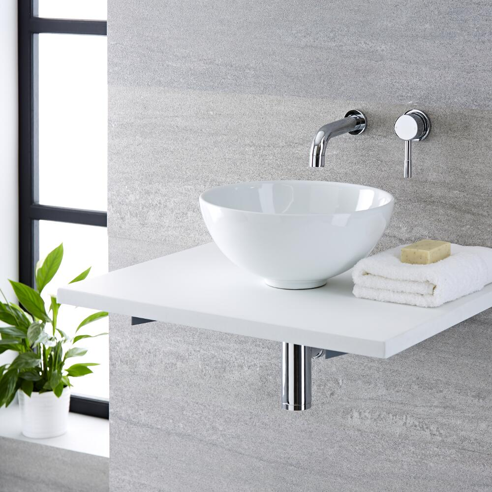 Milano Irwell - White Modern Round Countertop Basin with Wall Hung Mixer Tap - 320mm x 320mm (No Tap-Holes)
