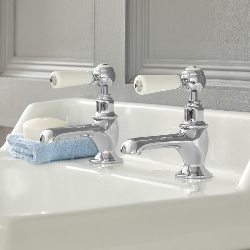Milano Elizabeth - Traditional Lever Basin Pillar Taps - Chrome and White