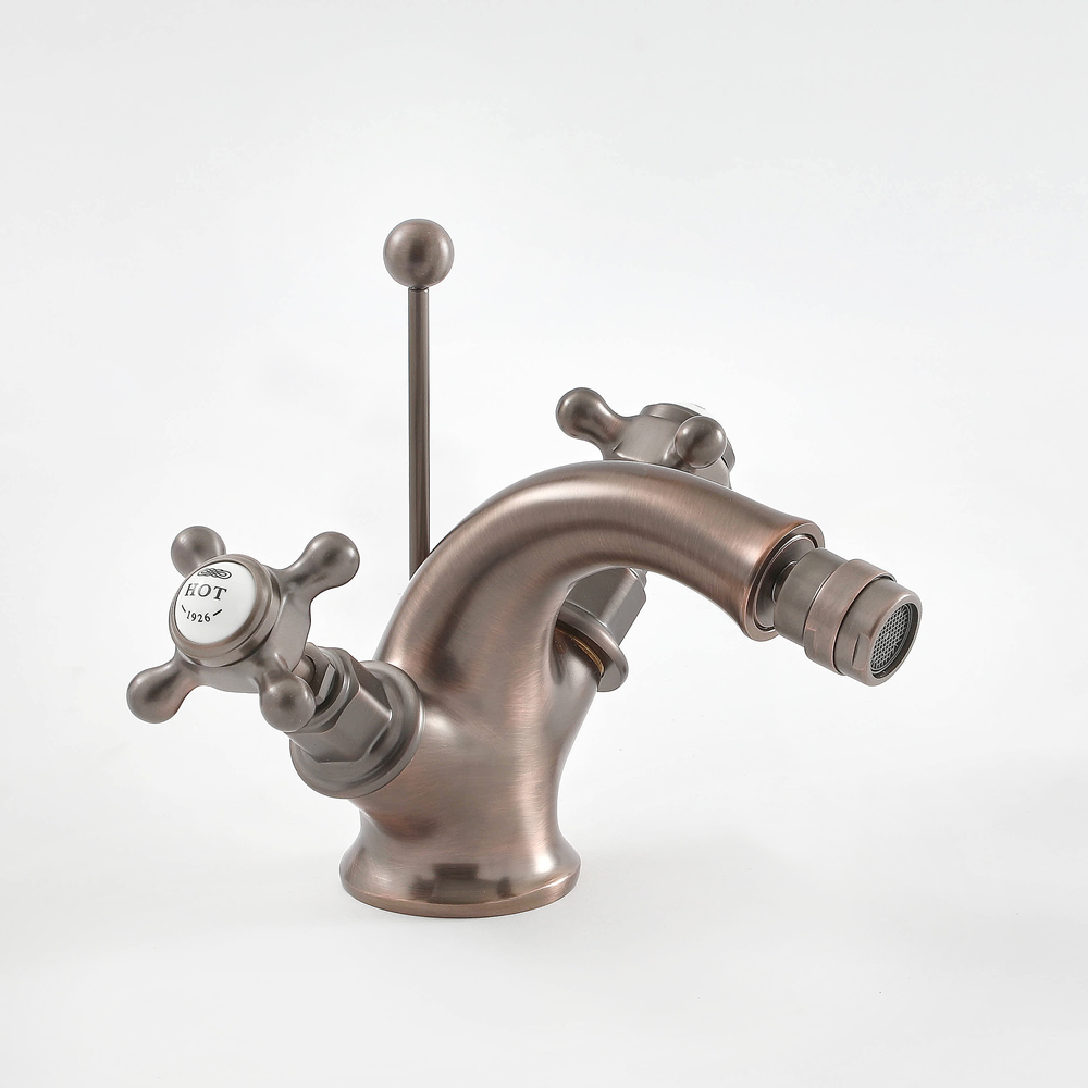 Milano Elizabeth - Traditional Deck Crosshead Mono Bidet Mixer Tap - Oil Rubbed Bronze