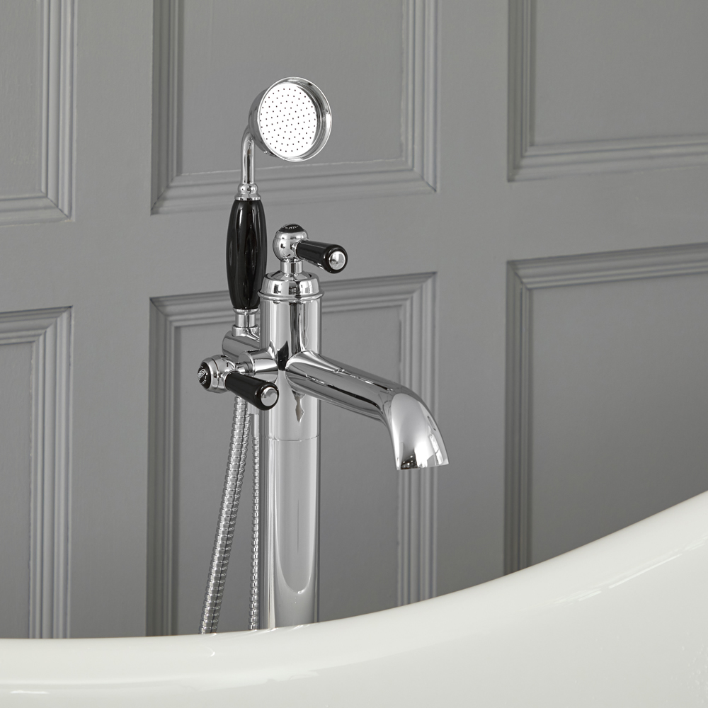 Milano Elizabeth - Traditional Freestanding Mono Bath Shower Mixer Tap with Hand Shower - Chrome and Black