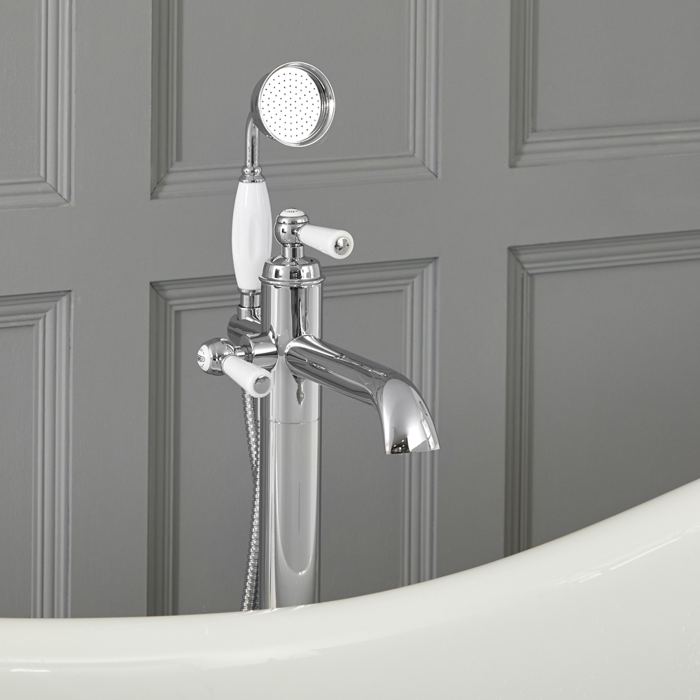 Milano Elizabeth - Traditional Freestanding Mono Bath Shower Mixer Tap with Hand Shower - Chrome and White