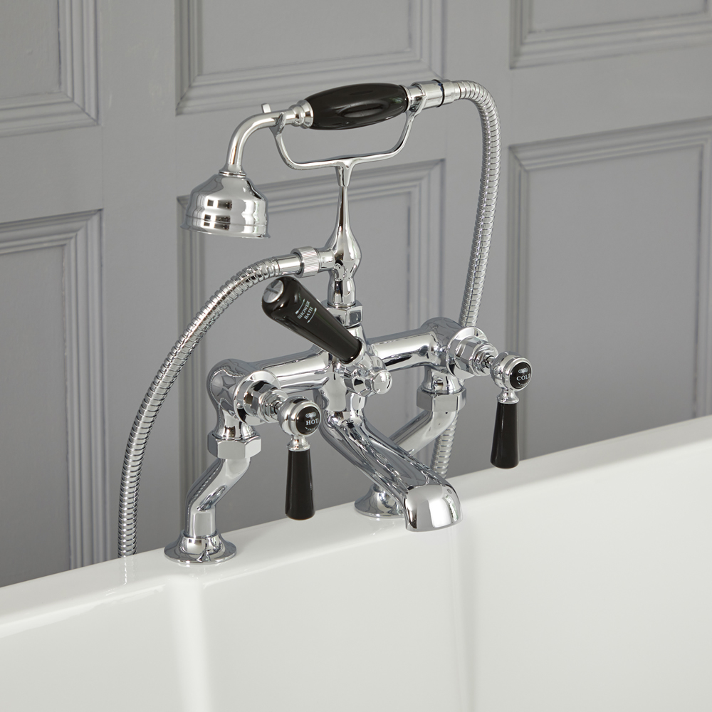 Milano Elizabeth - Traditional Lever Bath Shower Mixer Tap - Chrome and Black