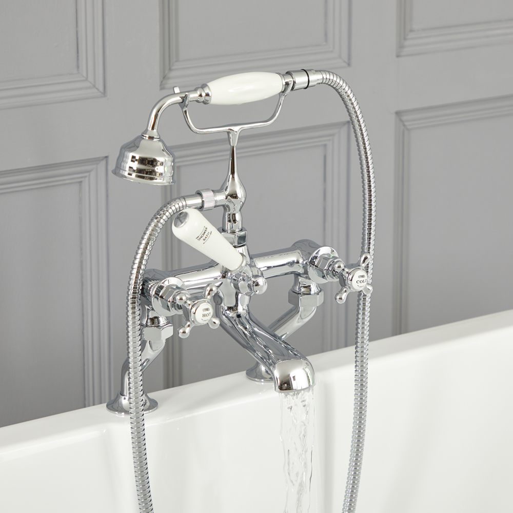 Milano Elizabeth - Traditional Crosshead Bath Shower Mixer Tap - Chrome and White