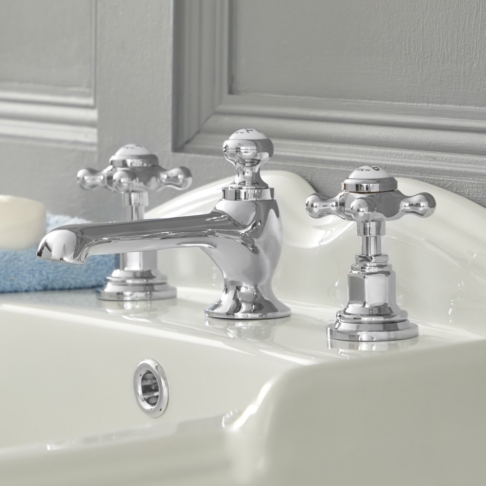 Milano Elizabeth - Traditional Crosshead 3 Tap-Hole Basin Mixer Tap - Choice of Finish