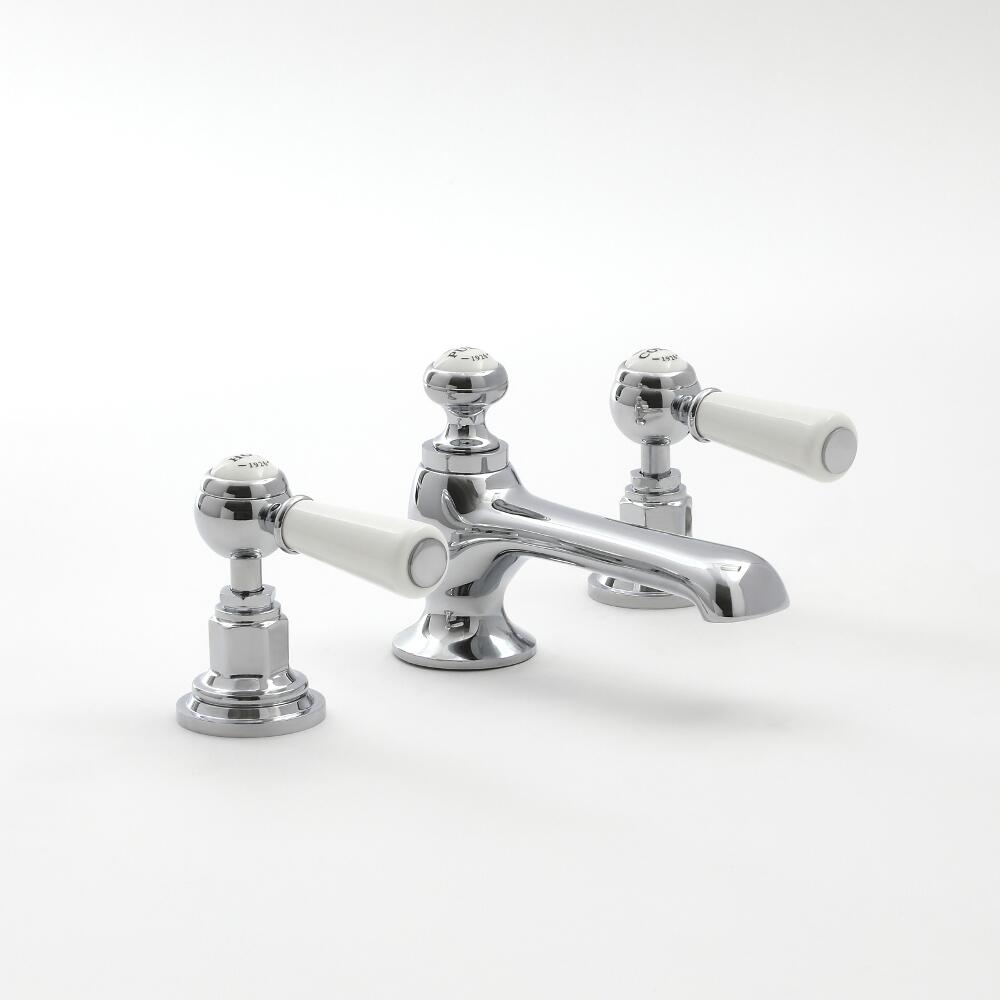 Milano Elizabeth - 3 Tap-Hole Lever Basin Mixer Tap - Chrome and White