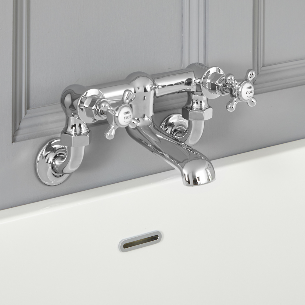 Milano Elizabeth - Traditional Wall Mounted Crosshead Bath Filler Tap - Chrome and White