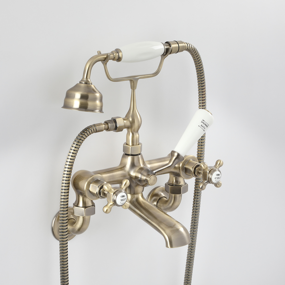 Milano Elizabeth - Traditional Wall Mounted Crosshead Bath Shower Mixer Tap - Brushed Gold
