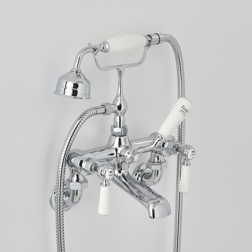 Milano Elizabeth - Traditional Wall Mounted Lever Bath Shower Mixer Tap - Chrome and White