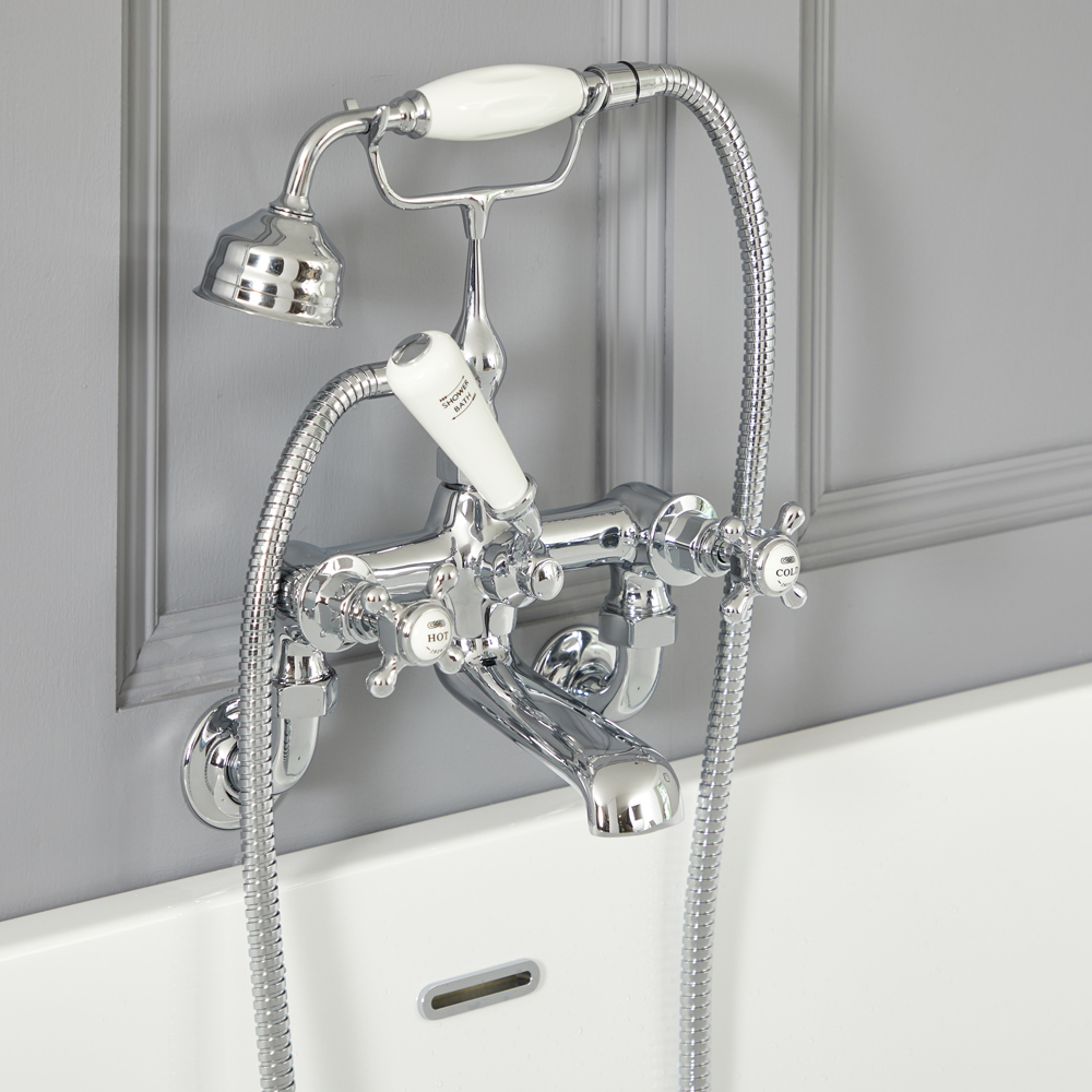 Milano Elizabeth - Traditional Wall Mounted Crosshead Bath Shower Mixer Tap - Chrome and White