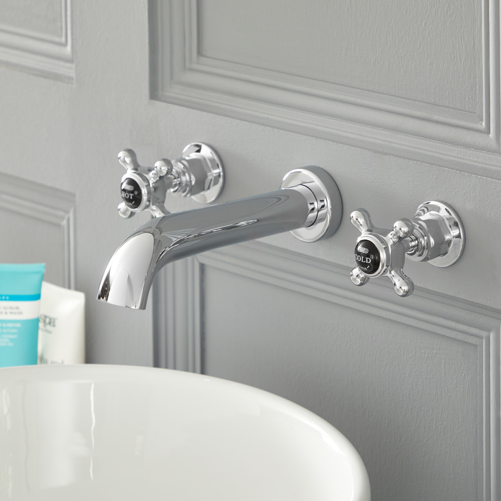 Milano Elizabeth - Traditional Wall Mounted 3 Tap-Hole Crosshead Basin Mixer Tap - Chrome and Black