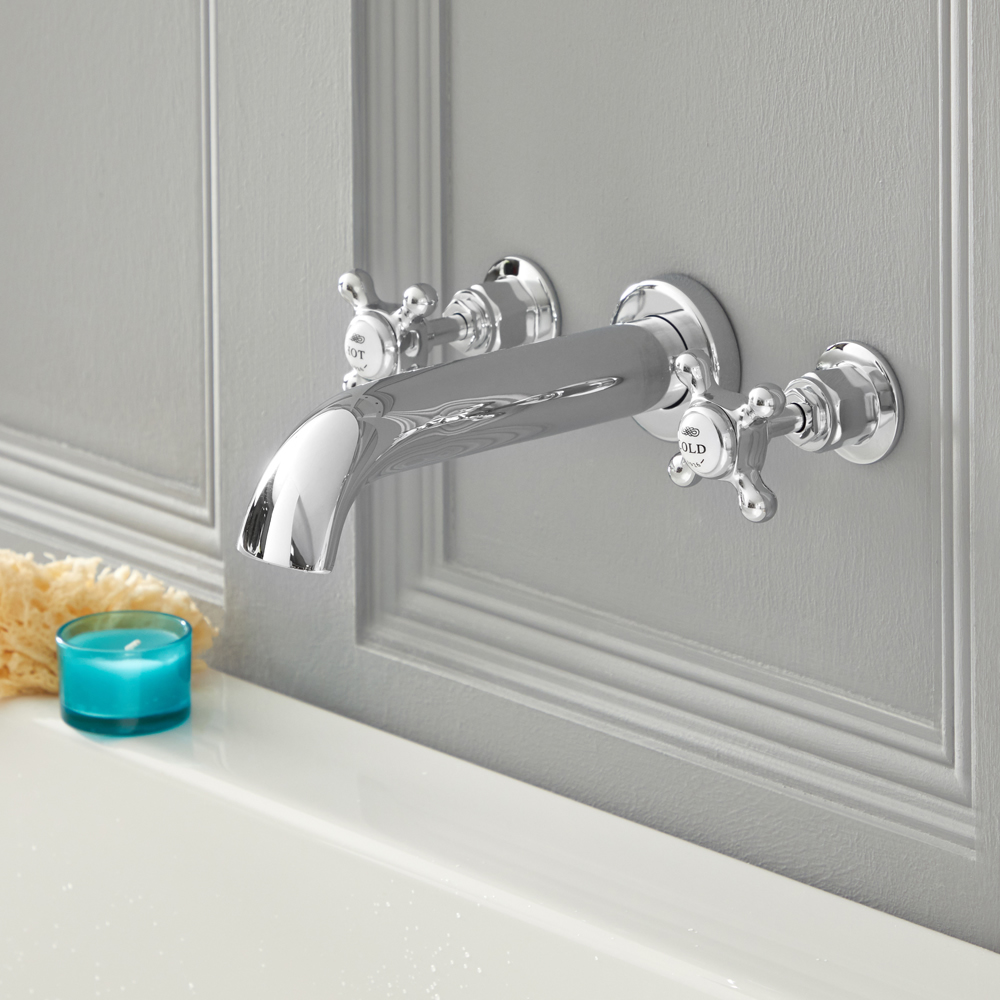 Milano Elizabeth - Traditional Wall Mounted 3 Tap-Hole Crosshead Bath Filler Tap - Chrome and White