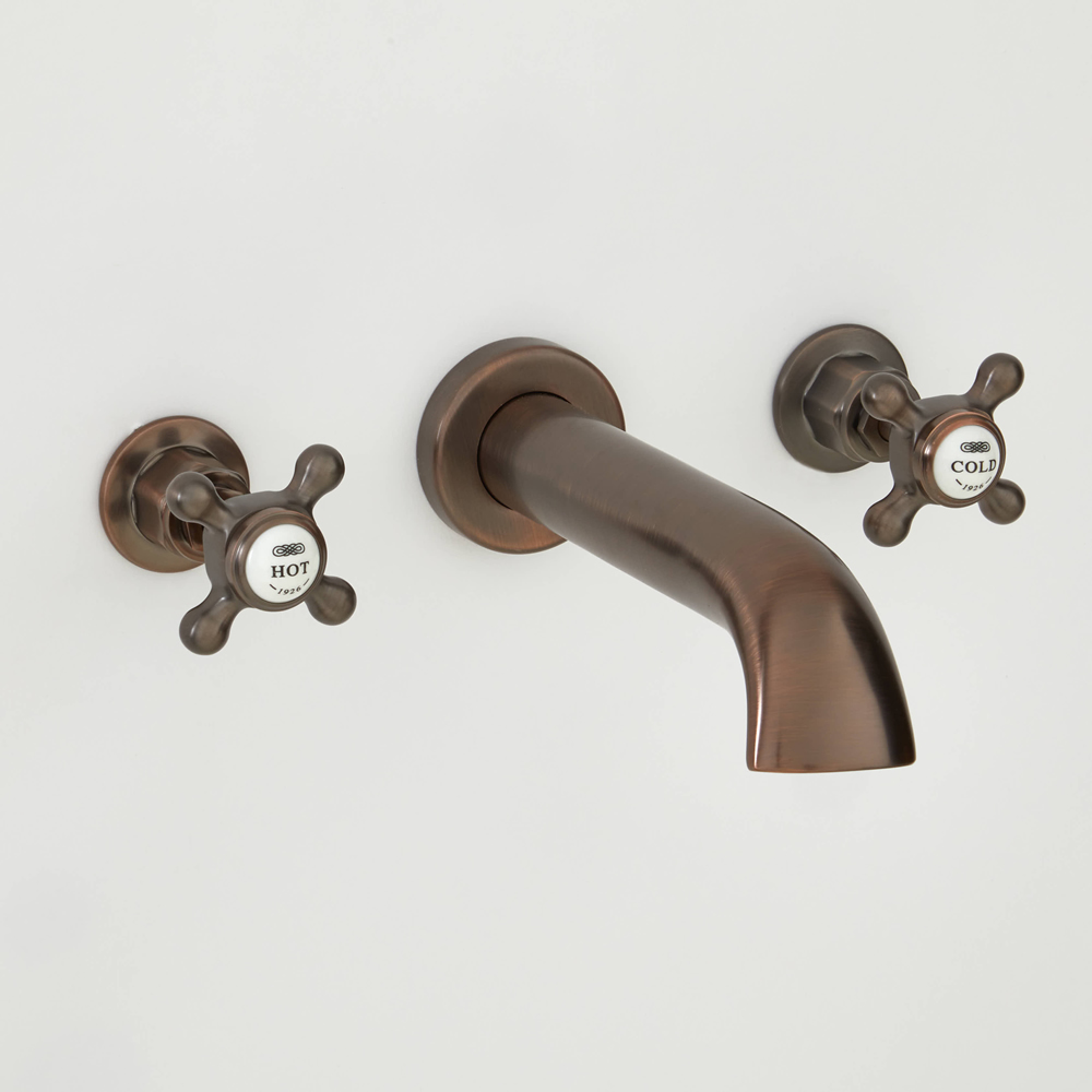 Milano Elizabeth - Traditional Wall Mounted 3 Tap-Hole Crosshead Bath Filler Tap - Oil Rubbed Bronze