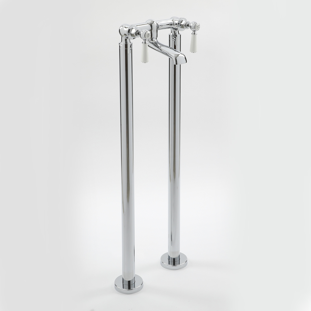 Milano Elizabeth - Traditional Freestanding Lever Bath Filler Tap - Chrome and White