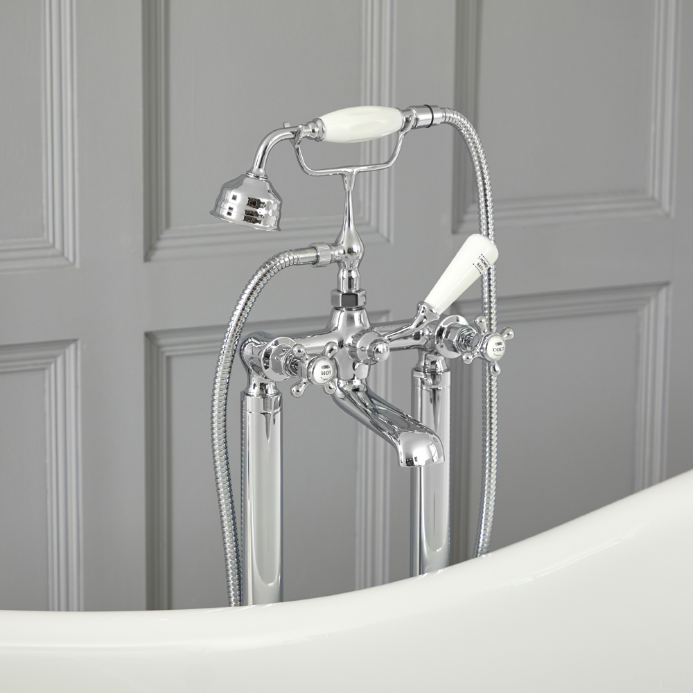 Milano Elizabeth - Traditional Freestanding Crosshead Bath Shower Mixer Tap with Hand Shower - Choice of Finish