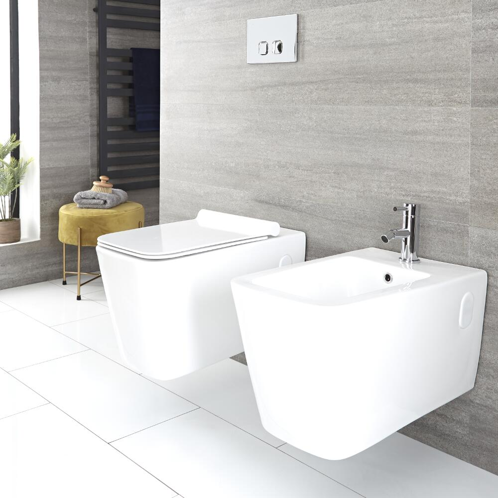 Milano Elswick - White Modern Wall Hung Toilet and Bidet Set - with Wall Frames and Flush Plate Option