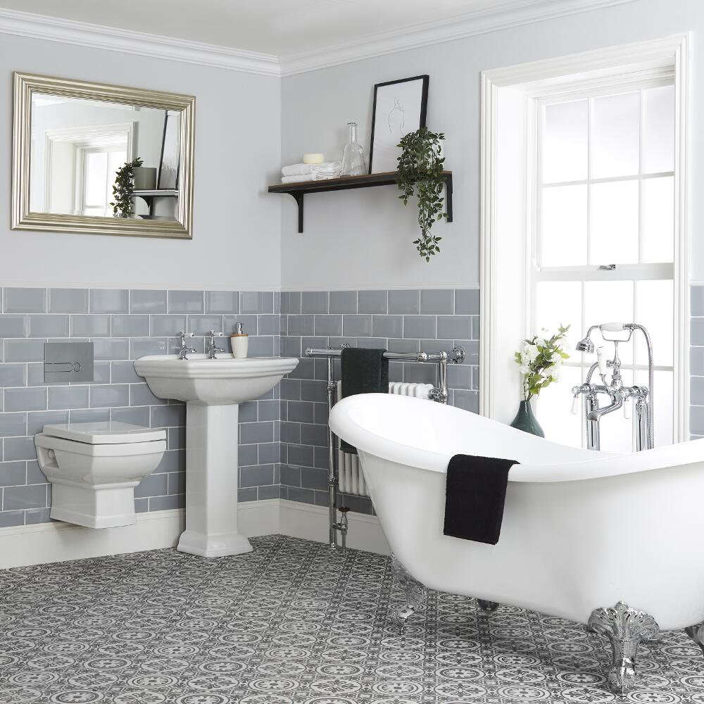 Milano Sandringham - Traditional Bathroom Suite with Freestanding Bath, Wall Hung Toilet, Bidet and Pedestal Basin