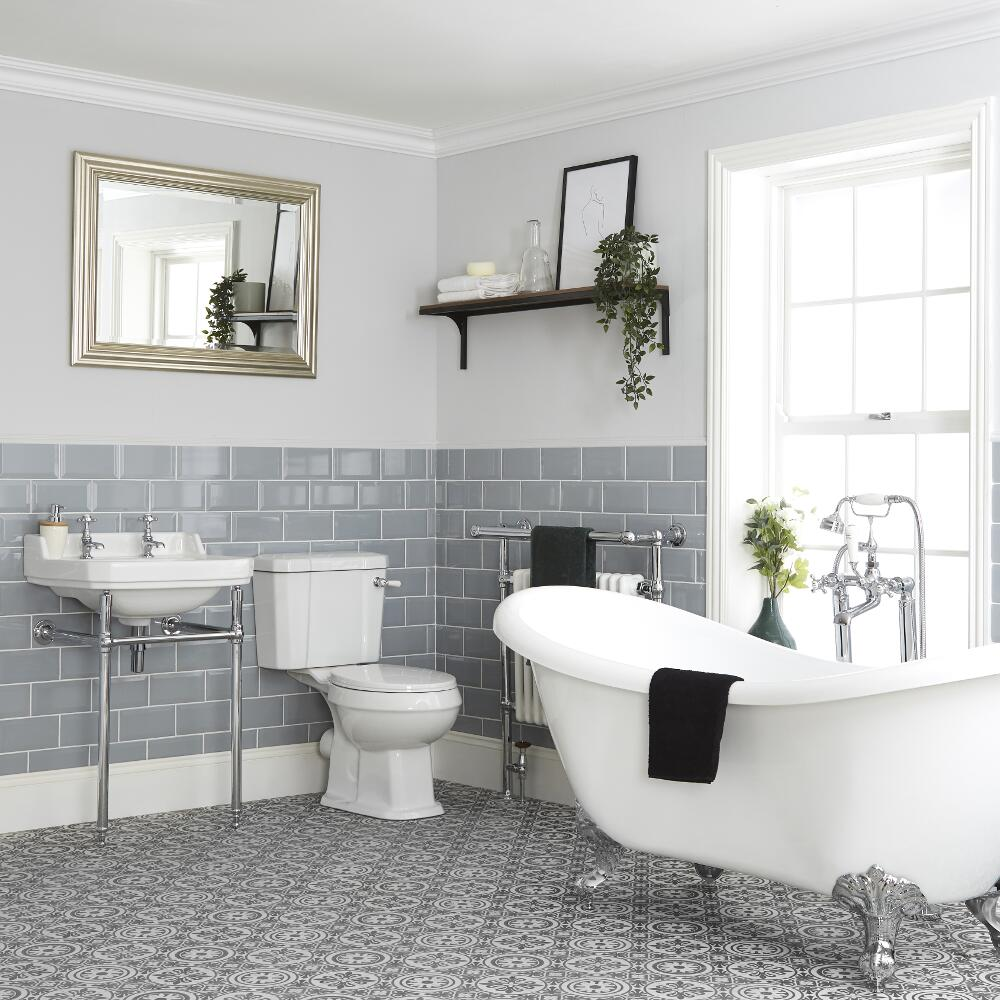 Milano Richmond - Traditional Bathroom Suite with Freestanding Bath, Toilet and Washstand Basin