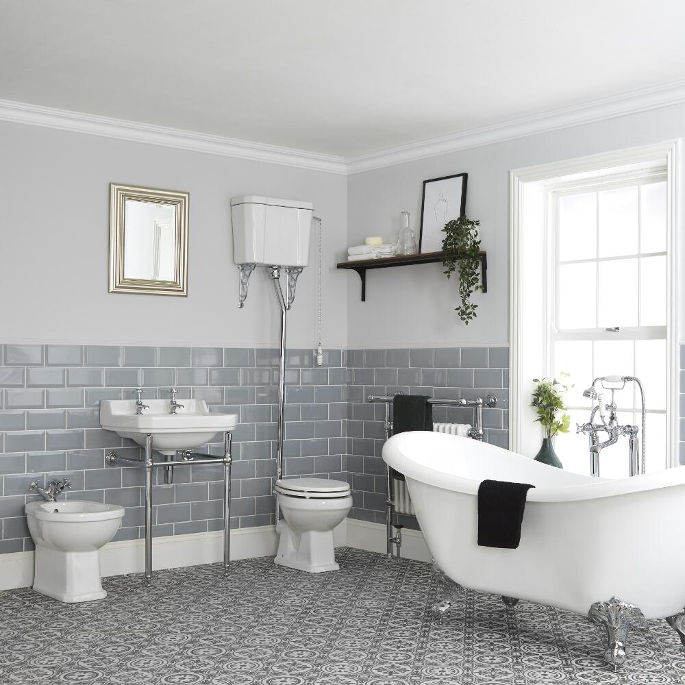 Milano Richmond - Traditional Bathroom Suite with Freestanding Bath, High Level Toilet, Washstand Basin and Bidet