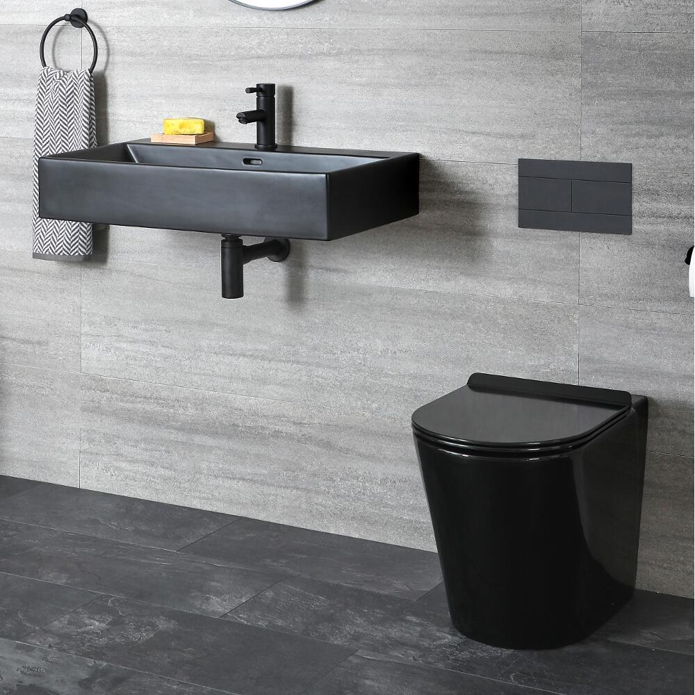 Milano Nero - Modern Back to Wall Toilet and Wall Hung Basin Set - Black