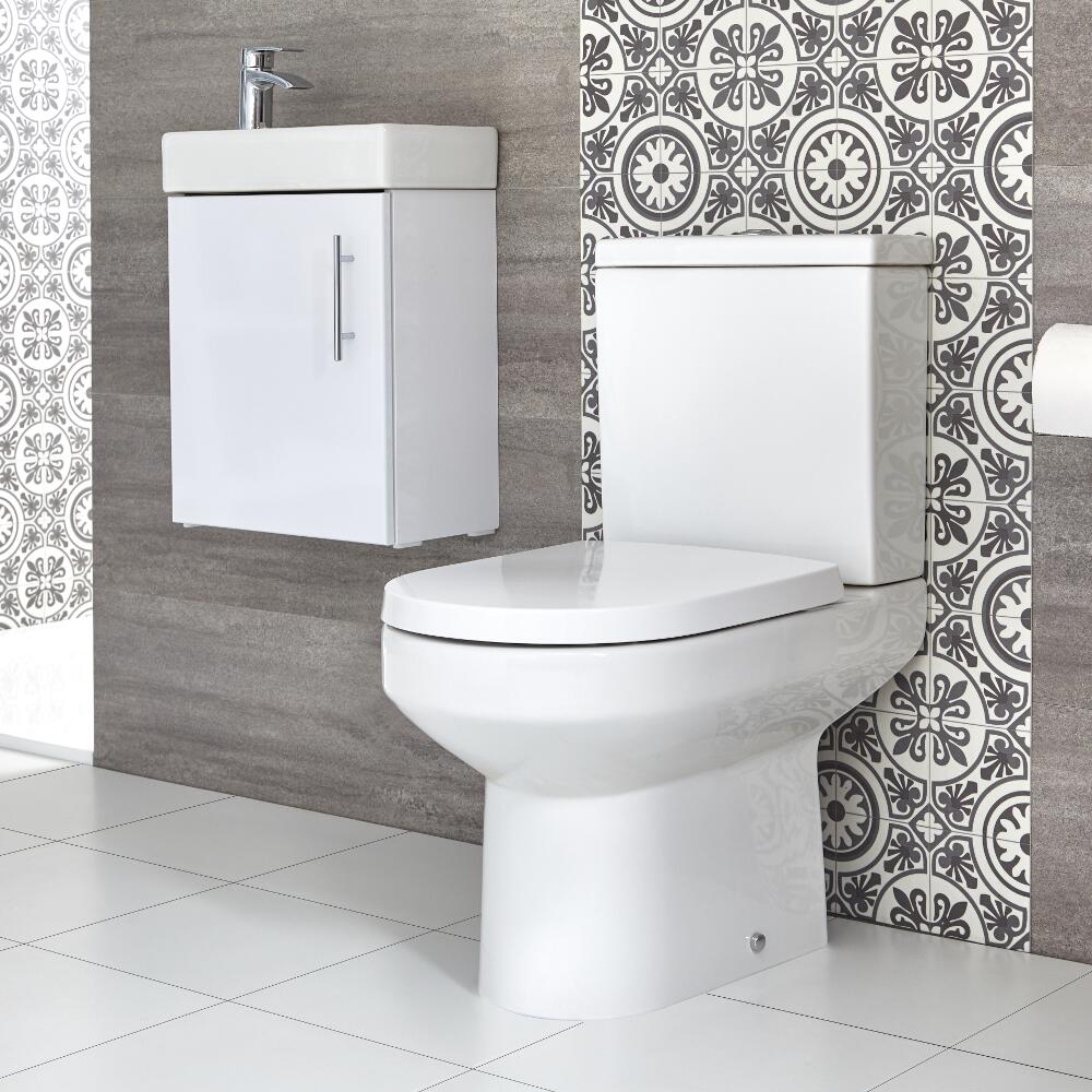 Milano Ballam - Close Coupled Toilet and 400mm Wall Hung Vanity Unit Set - Choice of Finish