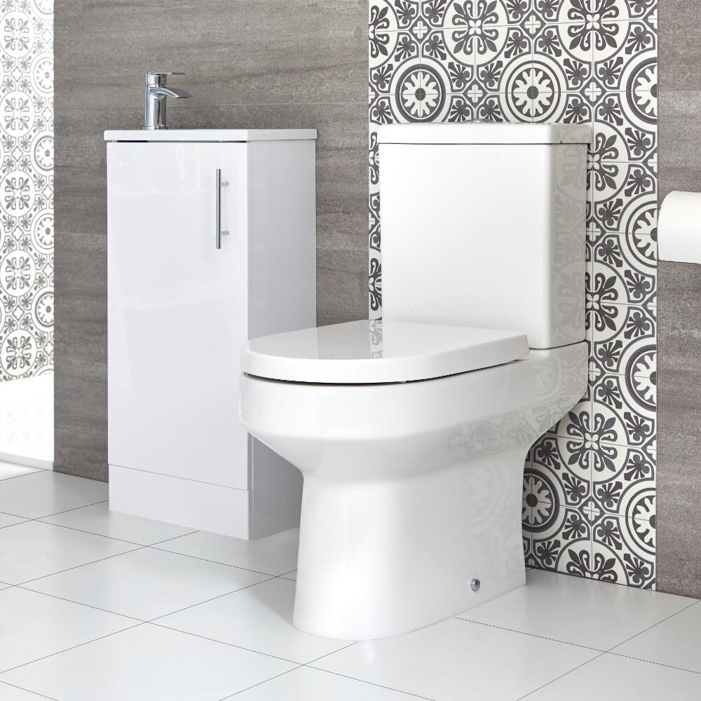 Milano Ballam - Close Coupled Toilet and 400mm Floor Standing Vanity Unit with Slimline Basin Set - Choice of Finish
