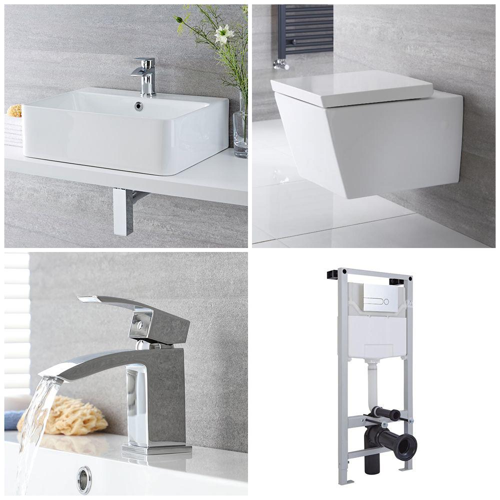 Milano Dalton - Complete Modern Cloakroom Suite with Mono Basin Tap