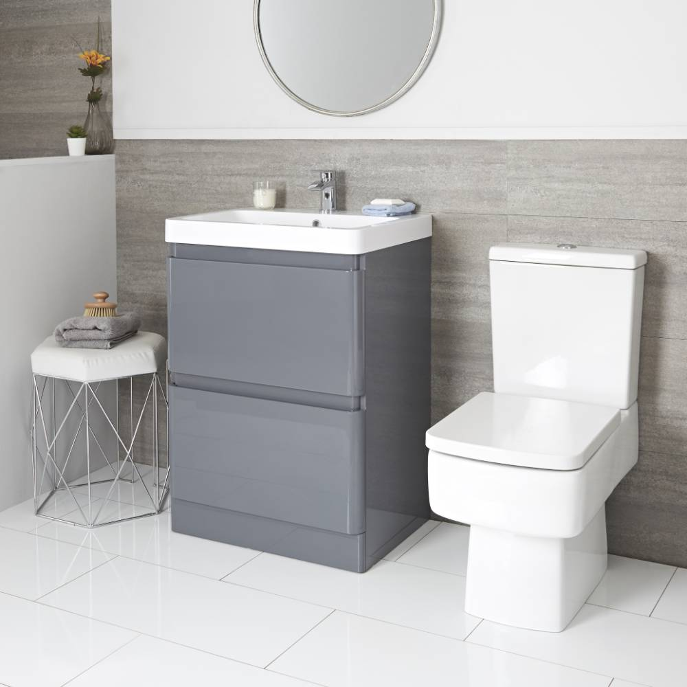 Milano Daxon - Grey Modern 600mm Vanity Unit and Close Coupled Toilet Set