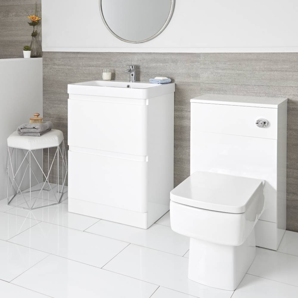Milano Daxon - White Modern 600mm Vanity Unit and WC Unit with Back to Wall Toilet