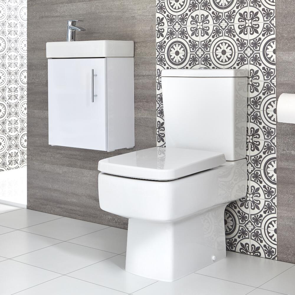Milano Farington - Close Coupled Toilet and 400mm Wall Hung Vanity Unit Set - Choice of Finish