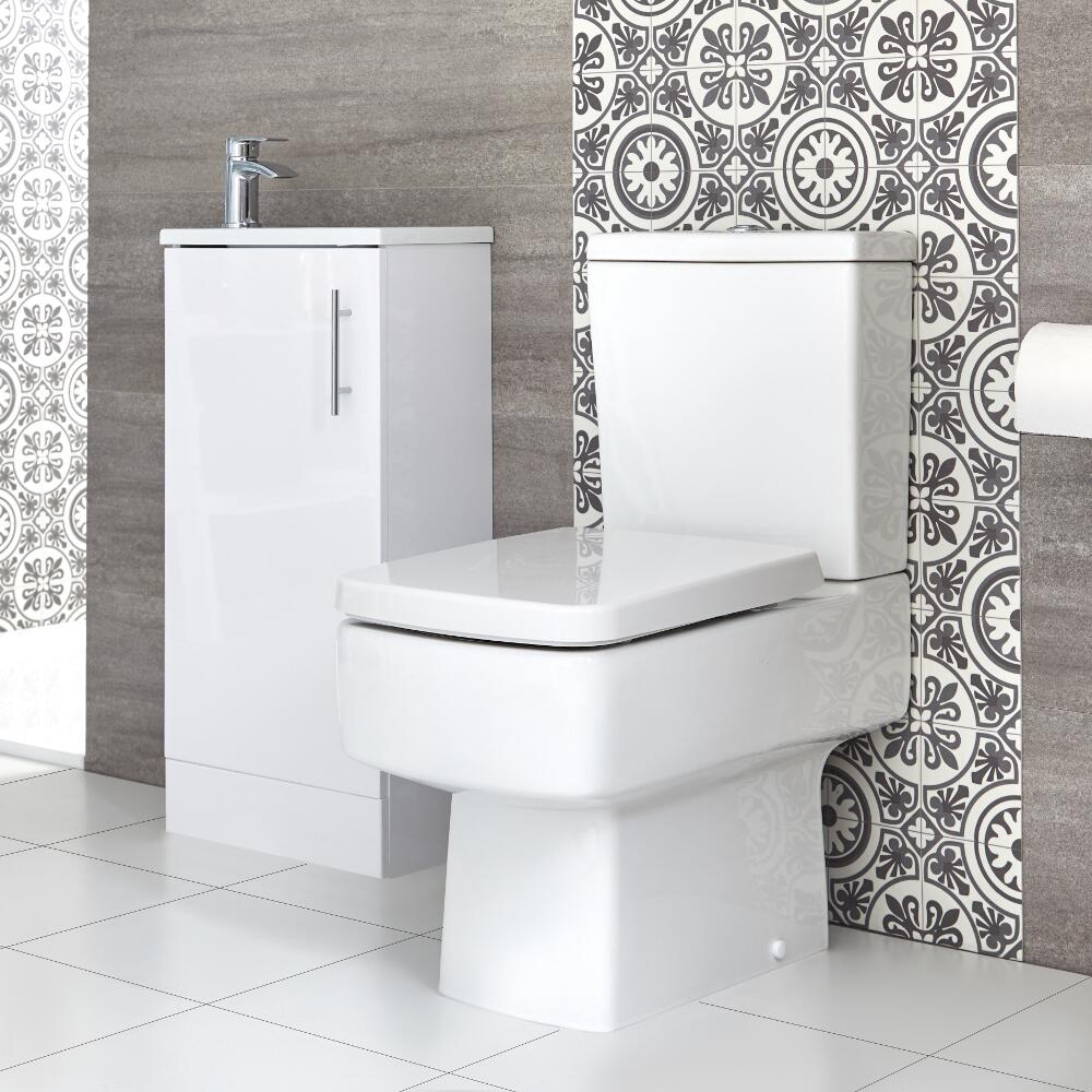 Milano Farington - Close Coupled Toilet and 400mm Floor Standing Vanity Unit with Slimline Basin Set - Choice of Finish