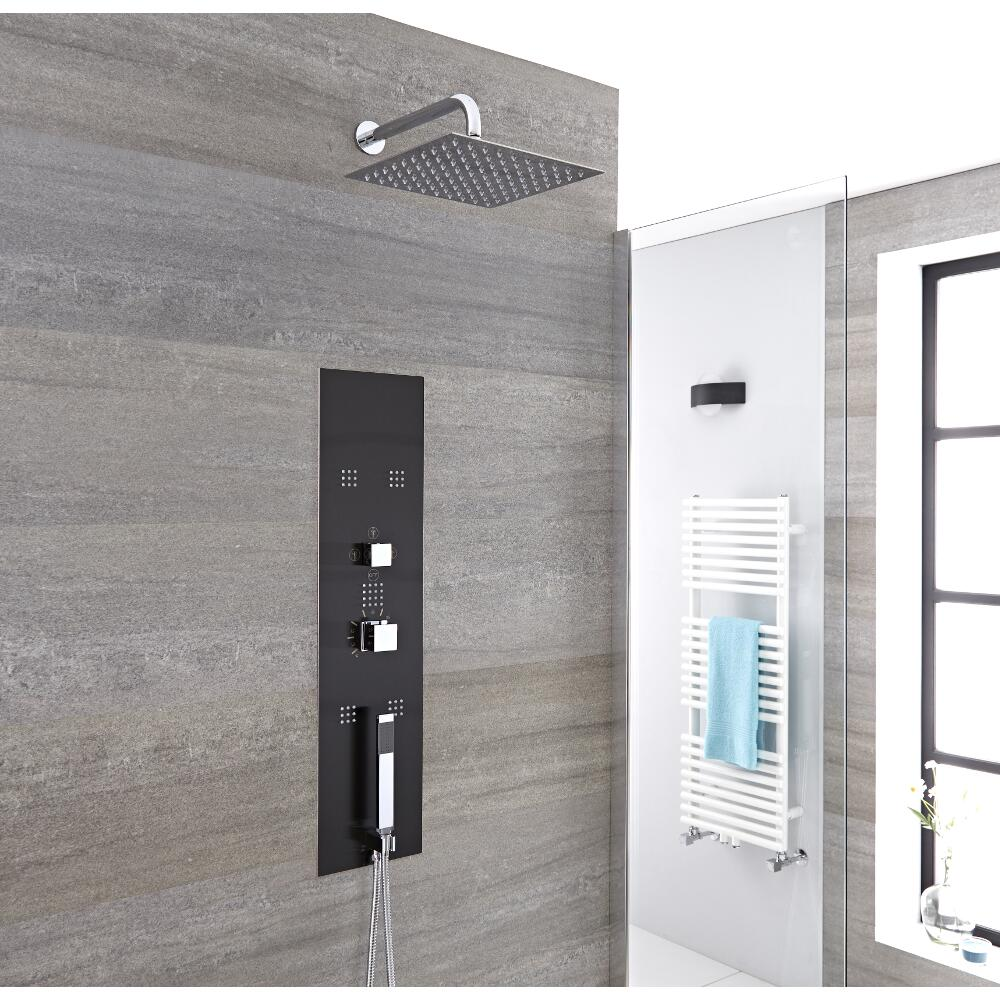 Milano Lisse - Modern Concealed Shower Tower Panel with Wall Mounted Square Shower Head, Hand Shower and Body Jets - Chrome and Grey