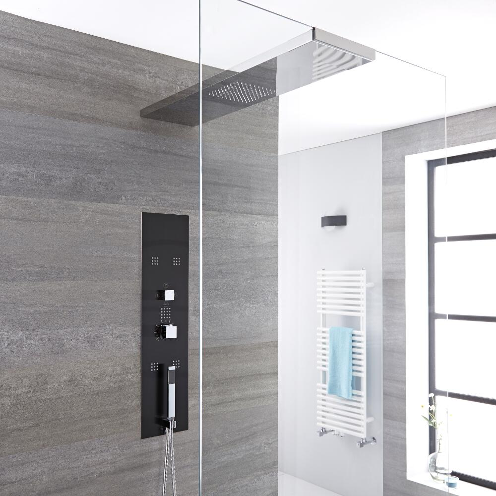 Milano Lisse - Modern Concealed Shower Tower Panel with 900mm Glass Grabbing Shower Head, Hand Shower and Body Jets - Chrome and Grey