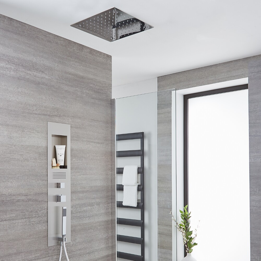 Milano Lisse - Concealed Brushed Shower Panel with 400mm Square Recessed Ceiling Head