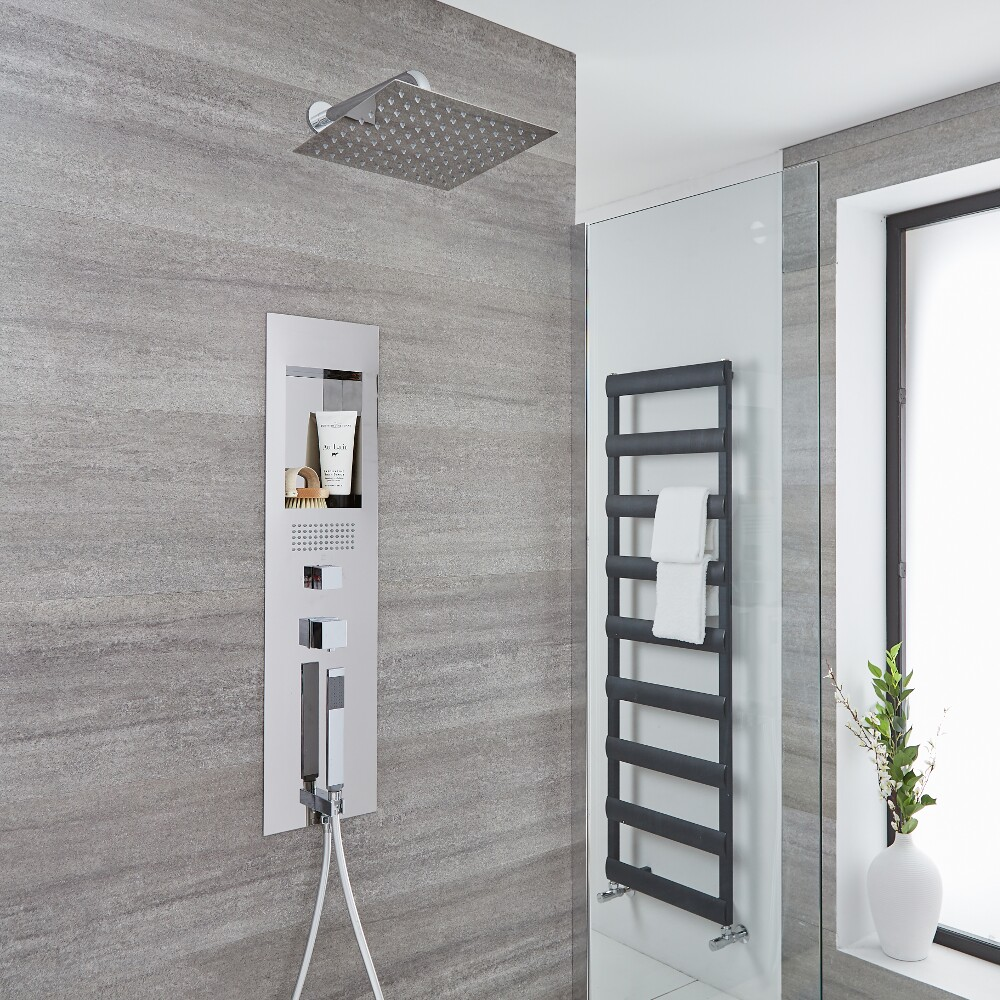 Milano Lisse Concealed Chrome Shower Panel with 300mm Square Head and Wall Arm
