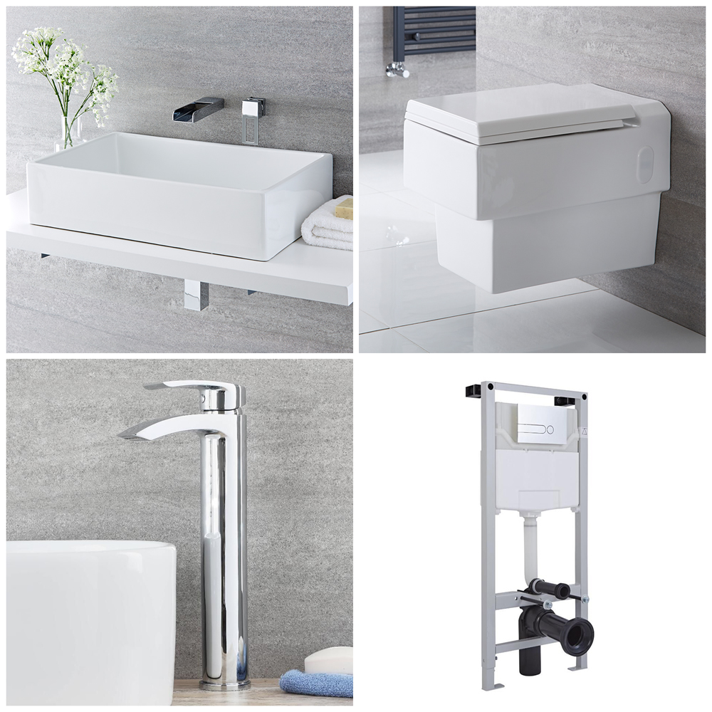 Milano Westby - Complete Modern Cloakroom Suite with Mono Basin Tap