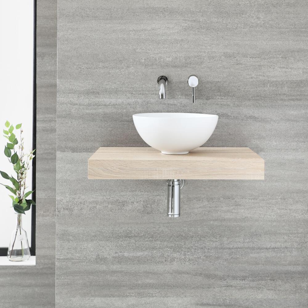 Milano Lurus 600mm Floating Shelf And Irwell Countertop Basin Oak