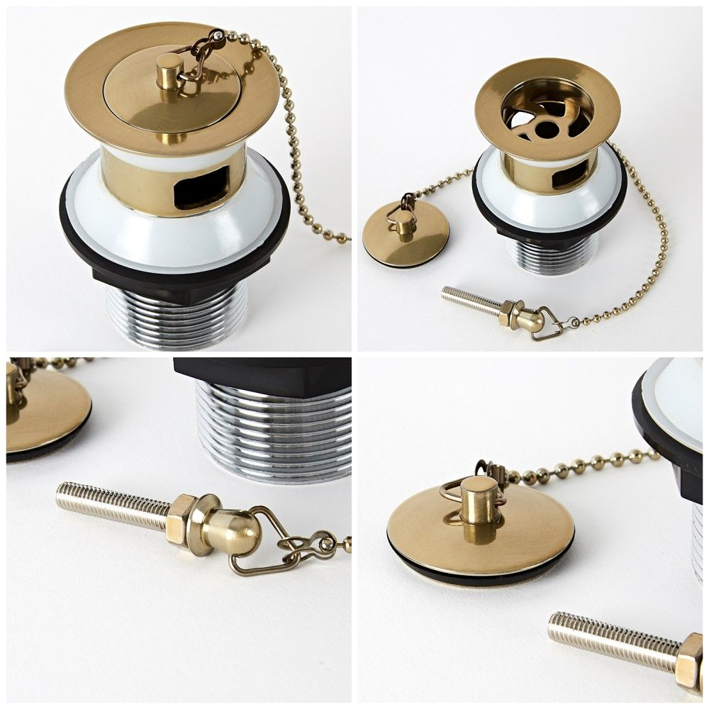 Traditional Exposed Bath Waste and Plug and Ball Chain Brushed Gold Milano Auro