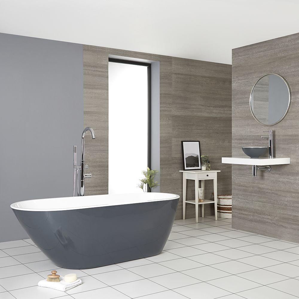 Milano Altcar Stone Grey Modern Freestanding Bath 1670mm X 730mm